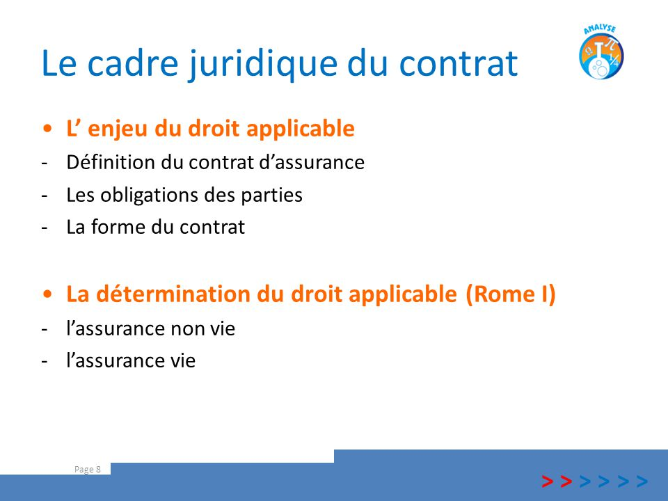 Le cadre juridique du contrat L' enjeu du droit applicable -Définition du contrat d'assurance -Les obligations des parties -La forme du contrat La dét