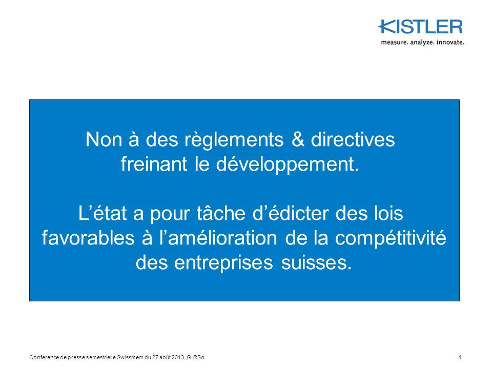 4 Non à des règlements & directives freinant le développement. L'état a pour tâche d'édicter des lois favorables à l'amélioration de la compétitivité
