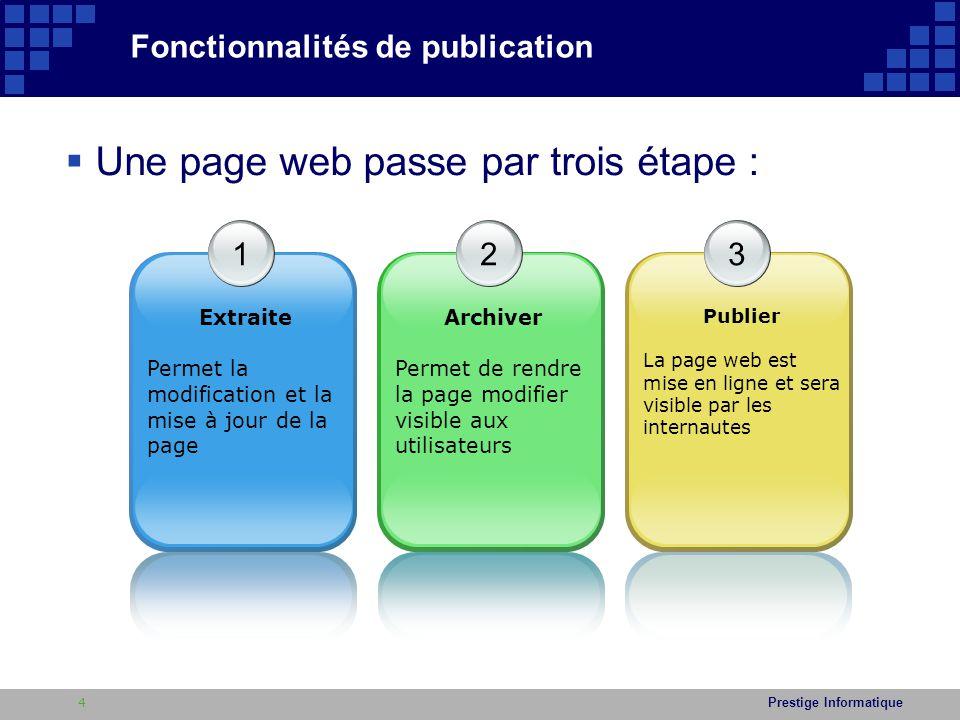 Prestige Informatique  Ainsi pour modifier le contenu de la page d'accueil ( cas page d'accueil extraite ) : 1.Cliquez sur le bouton Page situé dans le menu en haut de la page du site 2.Cliquez sur le bouton : Modifier situé dans le menu en haut de la page du site, ou sur Actions du site > Modifier la page 3.Modifier ( images, texte, etc … ) 4.Cliquez sur le bouton Enregistrer 5.Publié la page Contribution et mise à jour - Page d'accueil - 15