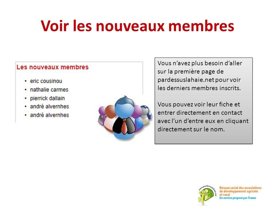 Voir les nouveaux membres Vous n'avez plus besoin d'aller sur la première page de pardessuslahaie.net pour voir les derniers membres inscrits. Vous po