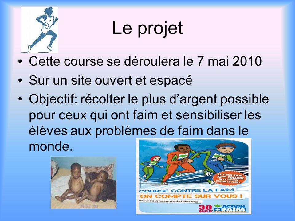 Le projet Cette course se déroulera le 7 mai 2010 Sur un site ouvert et espacé Objectif: récolter le plus d'argent possible pour ceux qui ont faim et