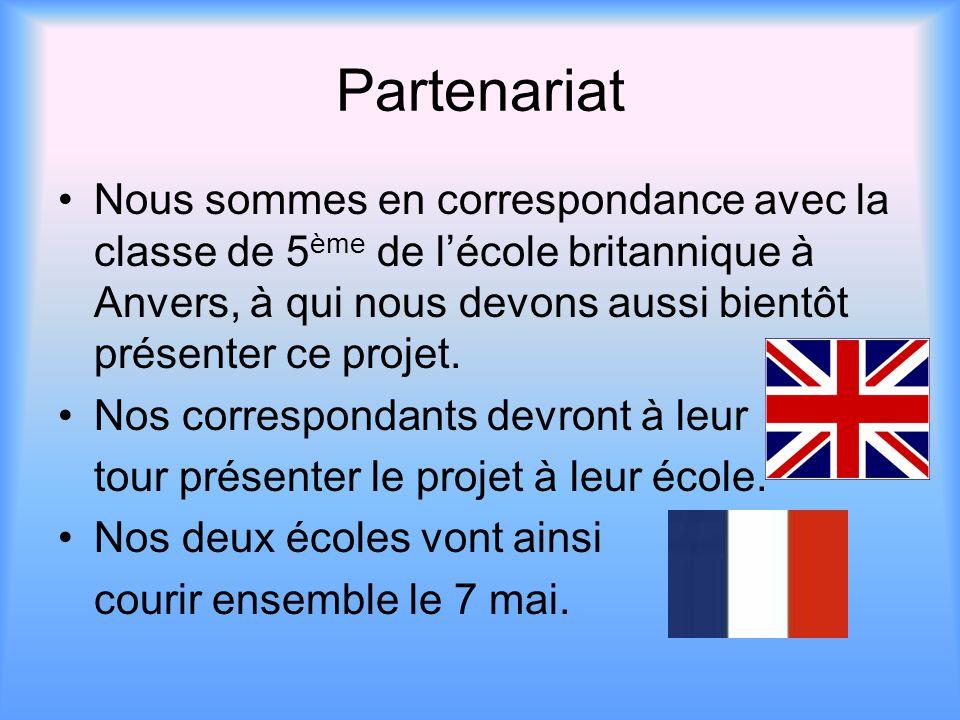 Partenariat Nous sommes en correspondance avec la classe de 5 ème de l'école britannique à Anvers, à qui nous devons aussi bientôt présenter ce projet