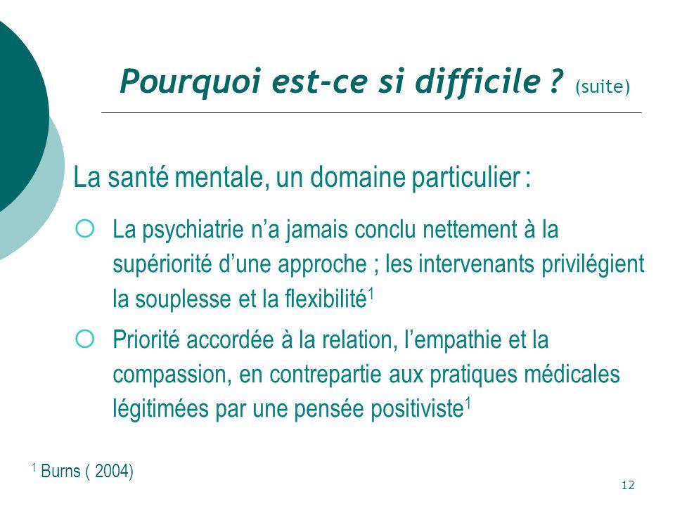 12  La psychiatrie n'a jamais conclu nettement à la supériorité d'une approche ; les intervenants privilégient la souplesse et la flexibilité 1  Priorité accordée à la relation, l'empathie et la compassion, en contrepartie aux pratiques médicales légitimées par une pensée positiviste 1 Pourquoi est-ce si difficile .