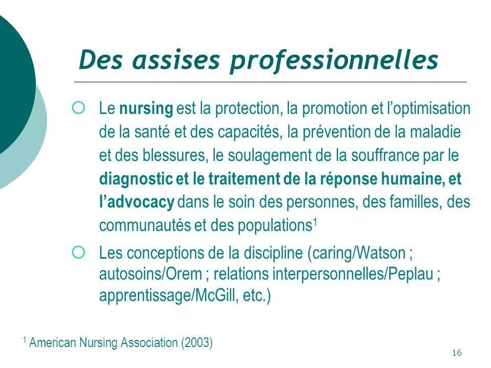 16 Des assises professionnelles  Le nursing est la protection, la promotion et l'optimisation de la santé et des capacités, la prévention de la maladie et des blessures, le soulagement de la souffrance par le diagnostic et le traitement de la réponse humaine, et l'advocacy dans le soin des personnes, des familles, des communautés et des populations 1  Les conceptions de la discipline (caring/Watson ; autosoins/Orem ; relations interpersonnelles/Peplau ; apprentissage/McGill, etc.) 1 American Nursing Association (2003)