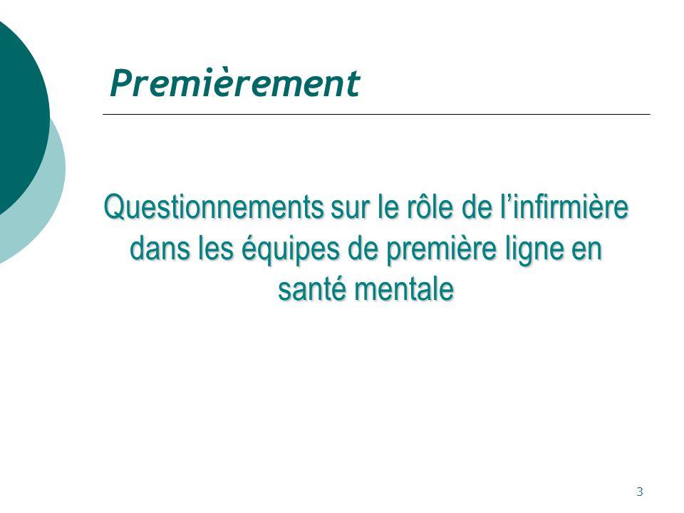 3 Premièrement Questionnements sur le rôle de l'infirmière dans les équipes de première ligne en santé mentale