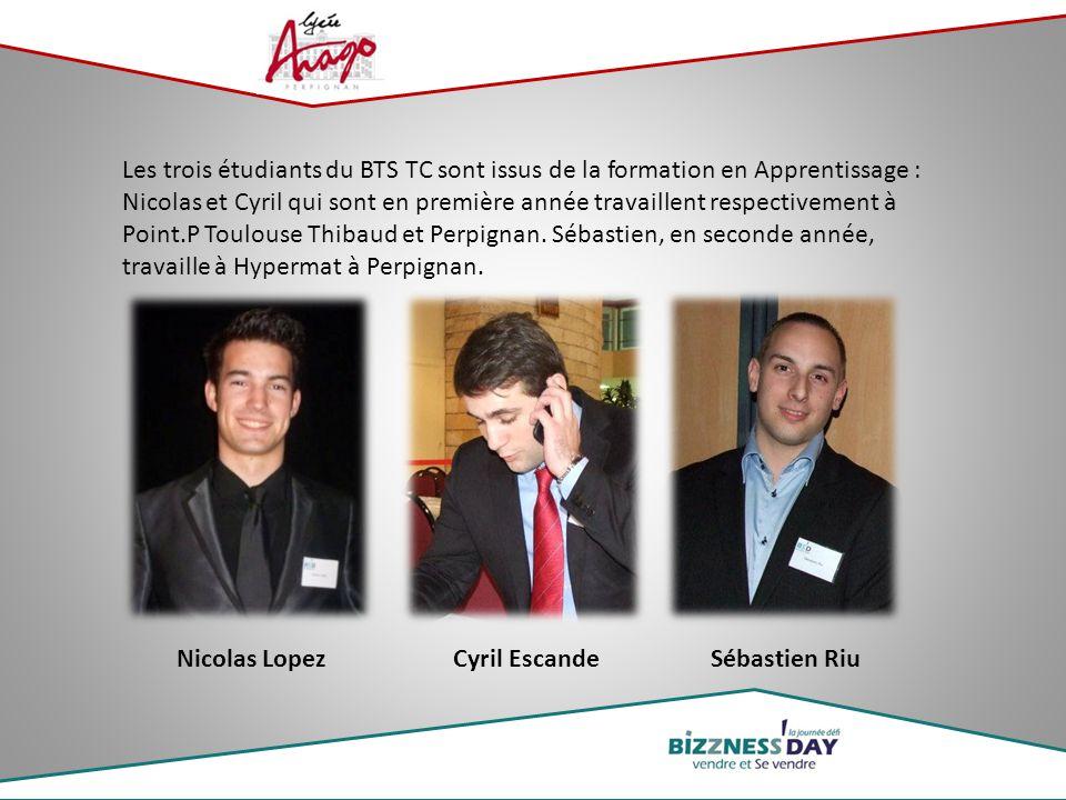 Les trois étudiants du BTS TC sont issus de la formation en Apprentissage : Nicolas et Cyril qui sont en première année travaillent respectivement à P