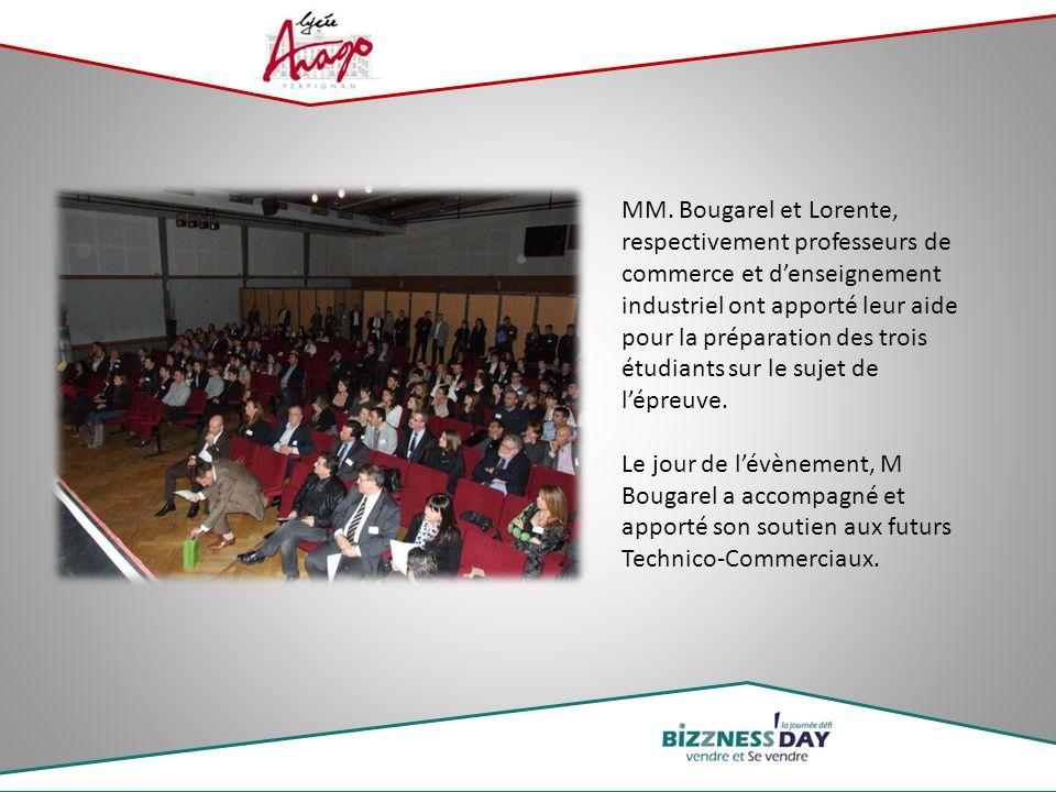 MM. Bougarel et Lorente, respectivement professeurs de commerce et d'enseignement industriel ont apporté leur aide pour la préparation des trois étudi