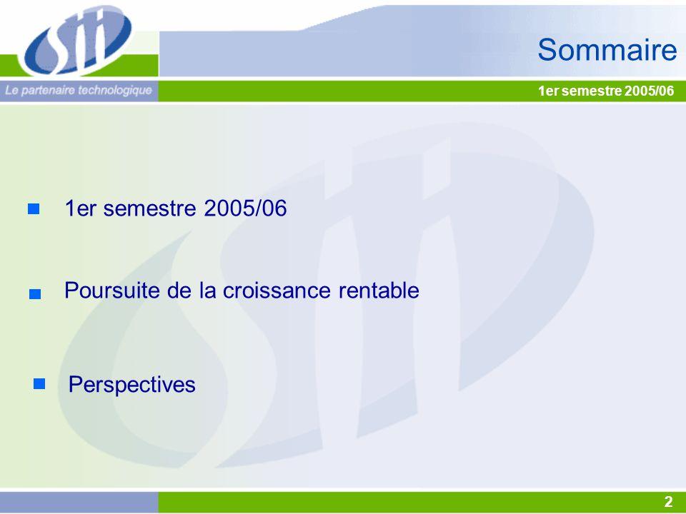 Sommaire 1er semestre 2005/06 Poursuite de la croissance rentable Perspectives 1er semestre 2005/06 2