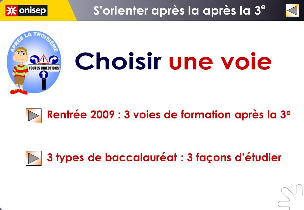 Rentrée 2009 : 3 voies de formation après la 3 e 3 types de baccalauréat : 3 façons d'étudier e