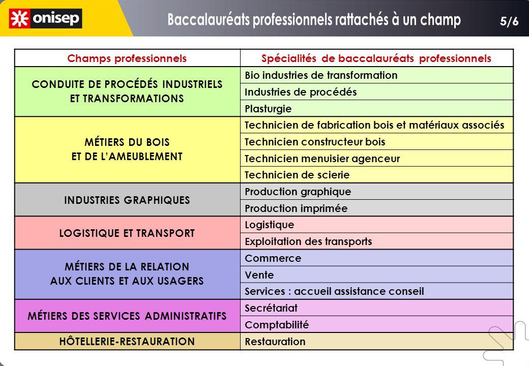 Champs professionnelsSpécialités de baccalauréats professionnels CONDUITE DE PROCÉDÉS INDUSTRIELS ET TRANSFORMATIONS Bio industries de transformation
