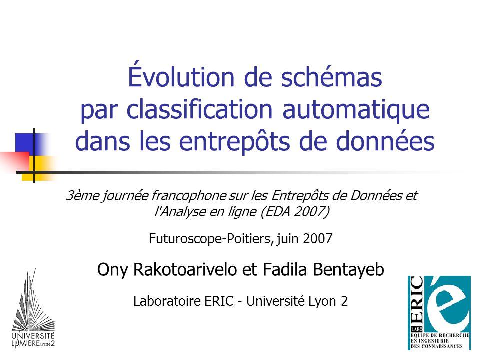 Évolution de schémas par classification automatique dans les entrepôts de données 3ème journée francophone sur les Entrepôts de Données et l Analyse en ligne (EDA 2007) Futuroscope-Poitiers, juin 2007 Ony Rakotoarivelo et Fadila Bentayeb Laboratoire ERIC - Université Lyon 2