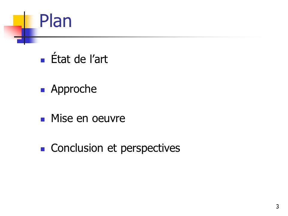 14 Plan État de l'art Approche Mise en oeuvre Conclusion et perspectives