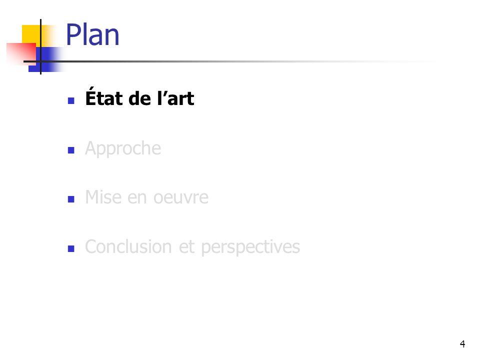 4 Plan État de l'art Approche Mise en oeuvre Conclusion et perspectives