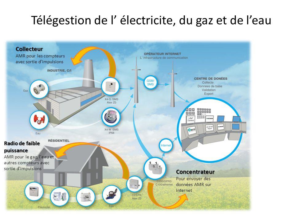 Télégestion de l' électricite, du gaz et de l'eau Concentrateur Pour envoyer des données AMR sur internet Collecteur AMR pour les compteurs avec sorti