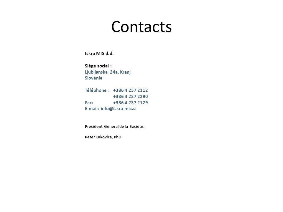 Iskra MIS d.d. Siège social : Ljubljanska 24a, Kranj Slovénie Téléphone : +386 4 237 2112 +386 4 237 2290 Fax: +386 4 237 2129 E-mail: info@iskra-mis.