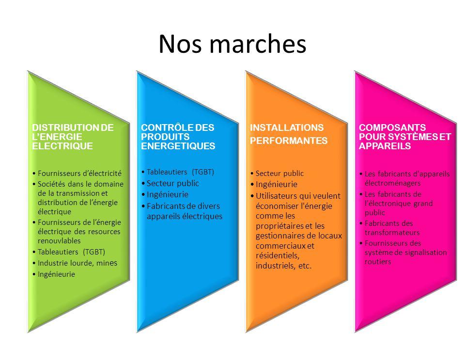 Nos marches DISTRIBUTION DE L'ENERGIE ELECTRIQUE Fournisseurs d'électricité Sociétés dans le domaine de la transmission et distribution de l'énergie é