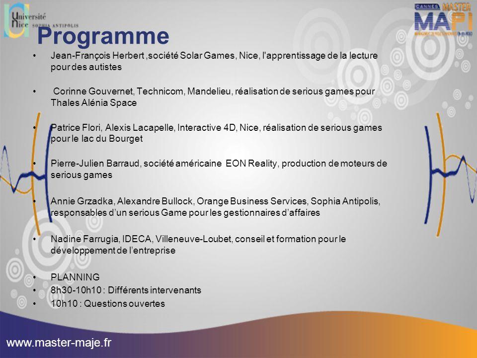 Programme Jean-François Herbert,société Solar Games, Nice, l'apprentissage de la lecture pour des autistes Corinne Gouvernet, Technicom, Mandelieu, ré