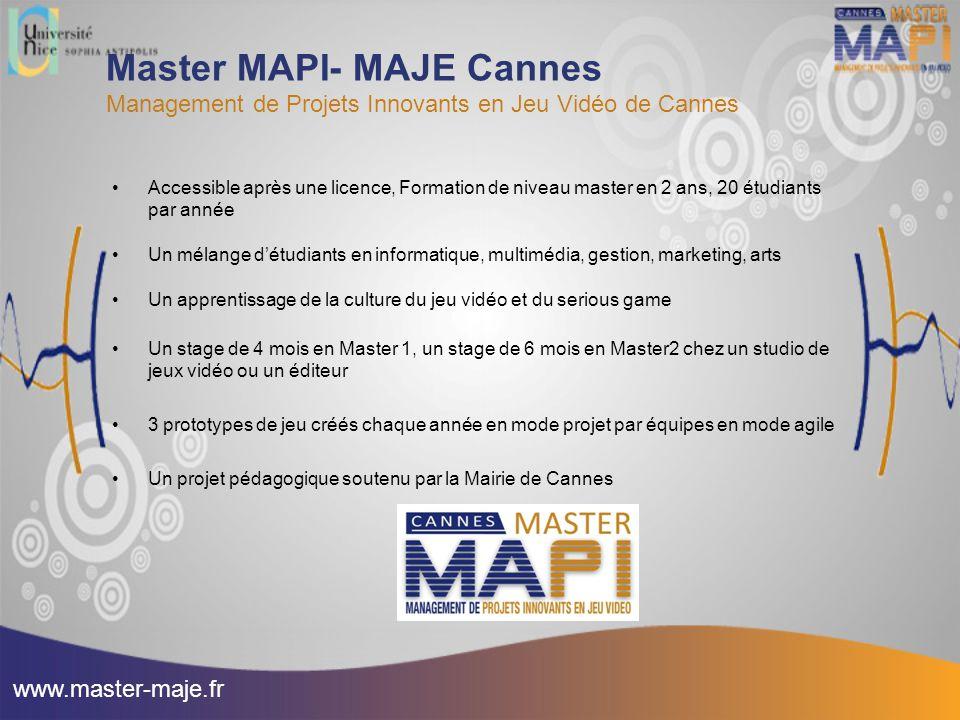 Master MAPI- MAJE Cannes Management de Projets Innovants en Jeu Vidéo de Cannes Accessible après une licence, Formation de niveau master en 2 ans, 20