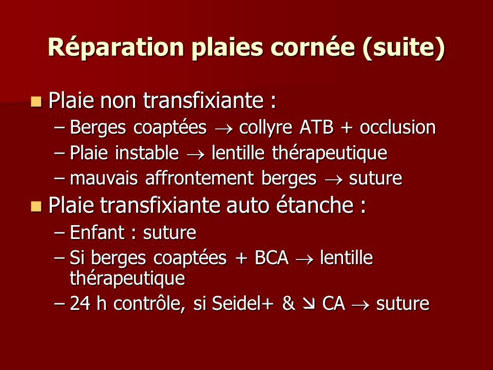 Réparation plaies cornée (suite) Plaie non transfixiante : Plaie non transfixiante : –Berges coaptées  collyre ATB + occlusion –Plaie instable  lent
