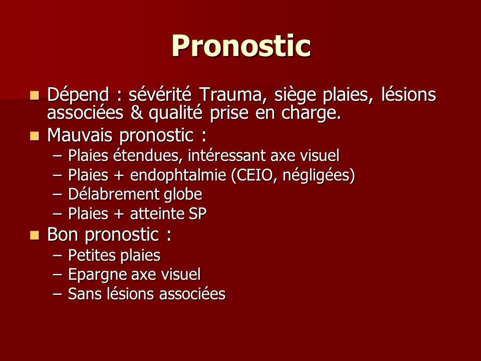 Pronostic Dépend : sévérité Trauma, siège plaies, lésions associées & qualité prise en charge. Dépend : sévérité Trauma, siège plaies, lésions associé