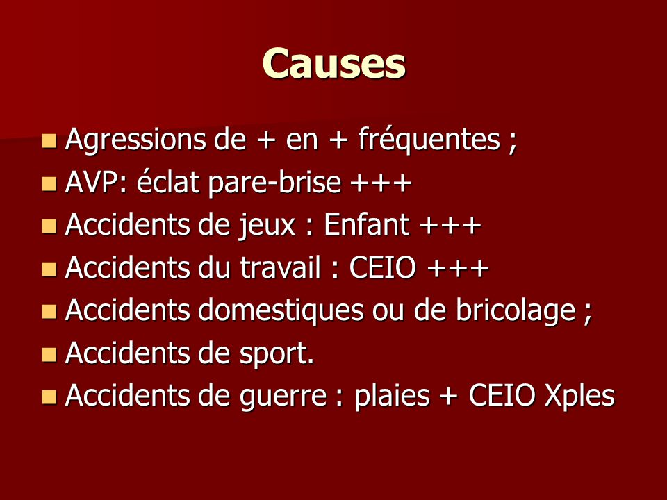 Causes Agressions de + en + fréquentes ; Agressions de + en + fréquentes ; AVP: éclat pare-brise +++ AVP: éclat pare-brise +++ Accidents de jeux : Enf
