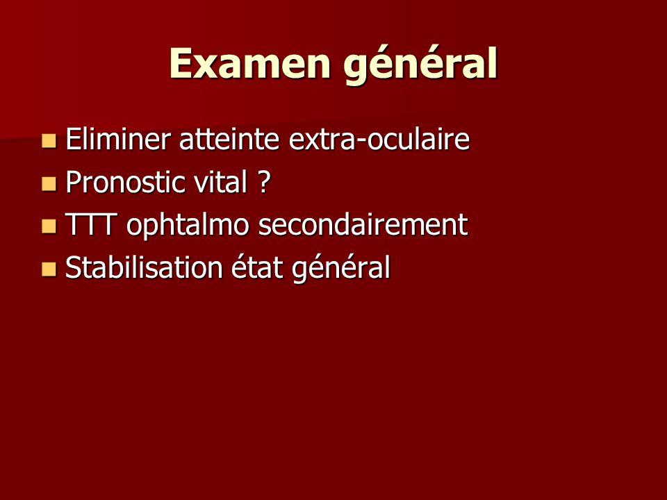 Examen général Eliminer atteinte extra-oculaire Eliminer atteinte extra-oculaire Pronostic vital ? Pronostic vital ? TTT ophtalmo secondairement TTT o