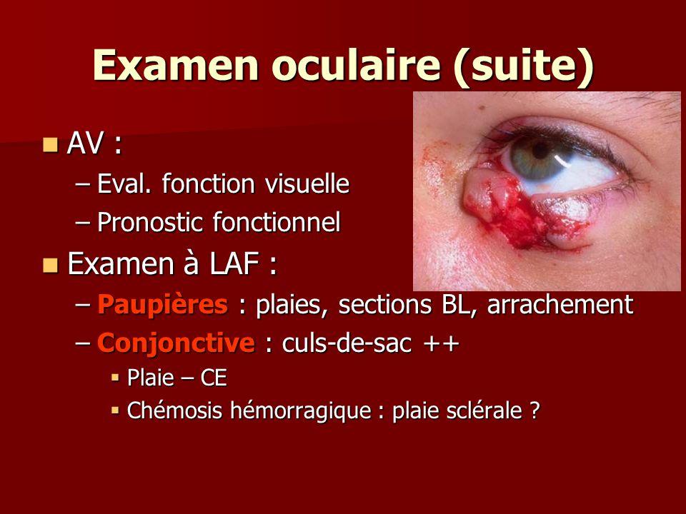 Examen oculaire (suite) AV : AV : –Eval. fonction visuelle –Pronostic fonctionnel Examen à LAF : Examen à LAF : –Paupières : plaies, sections BL, arra