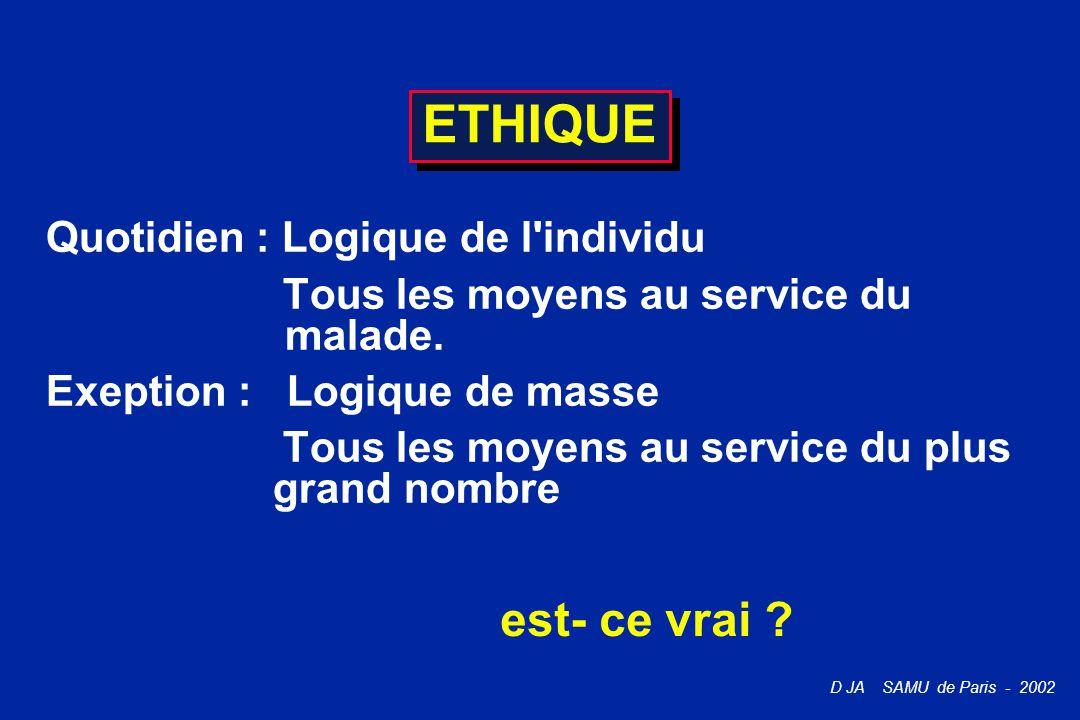 D JA SAMU de Paris - 2002 ETHIQUE Quotidien : Logique de l'individu Tous les moyens au service du malade. Exeption : Logique de masse Tous les moyens