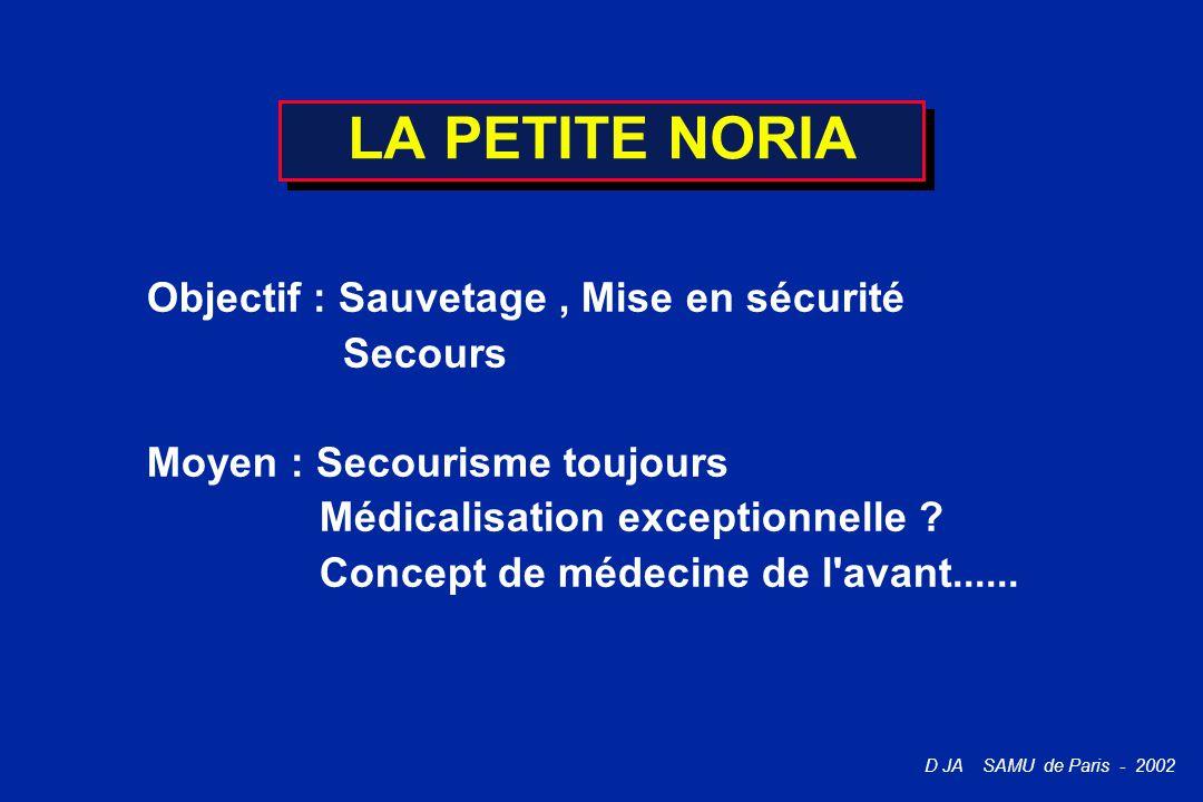 D JA SAMU de Paris - 2002 LA PETITE NORIA Objectif : Sauvetage, Mise en sécurité Secours Moyen : Secourisme toujours Médicalisation exceptionnelle ? C