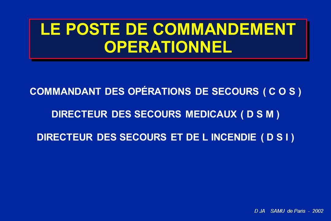 D JA SAMU de Paris - 2002 LE POSTE DE COMMANDEMENT OPERATIONNEL COMMANDANT DES OPÉRATIONS DE SECOURS ( C O S ) DIRECTEUR DES SECOURS MEDICAUX ( D S M
