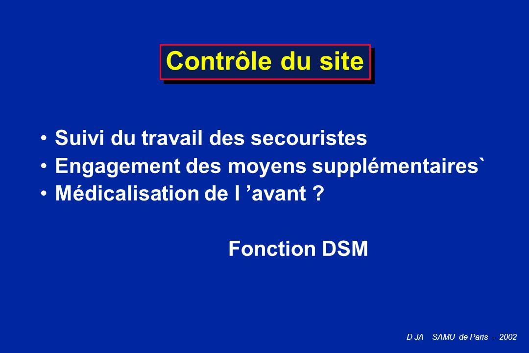 D JA SAMU de Paris - 2002 Contrôle du site Suivi du travail des secouristes Engagement des moyens supplémentaires` Médicalisation de l 'avant ? Foncti