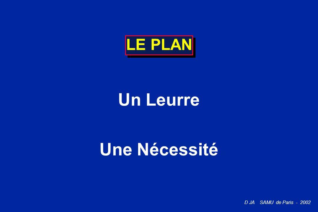 D JA SAMU de Paris - 2002 LE PLAN Un Leurre Une Nécessité