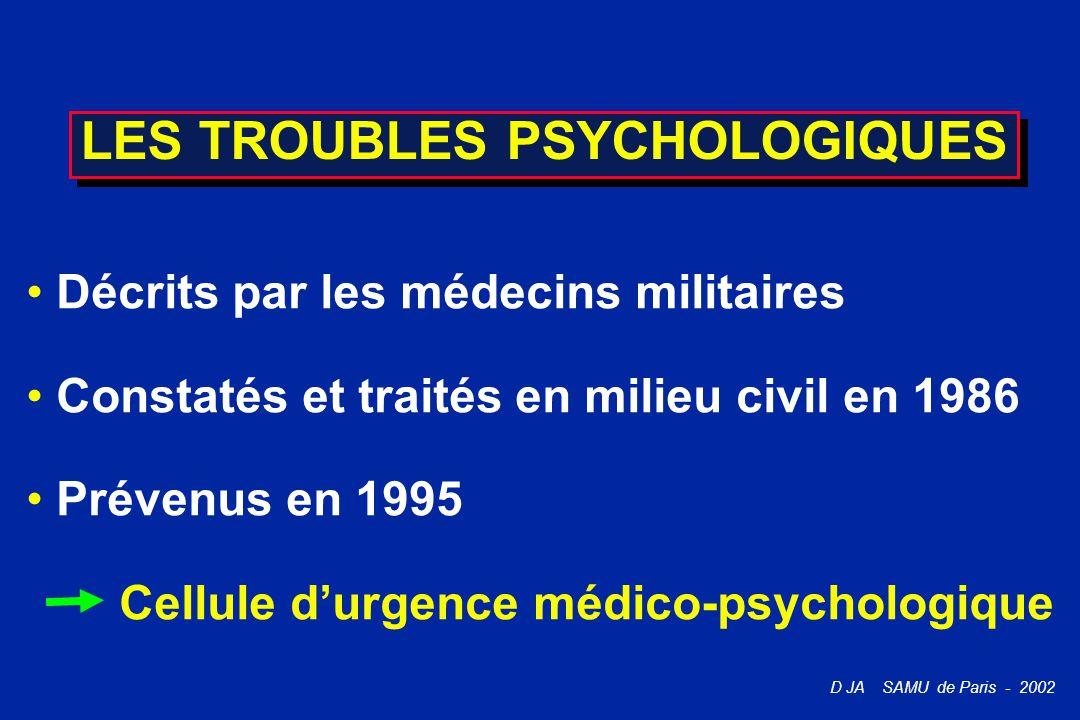 D JA SAMU de Paris - 2002 LES TROUBLES PSYCHOLOGIQUES Décrits par les médecins militaires Constatés et traités en milieu civil en 1986 Prévenus en 199