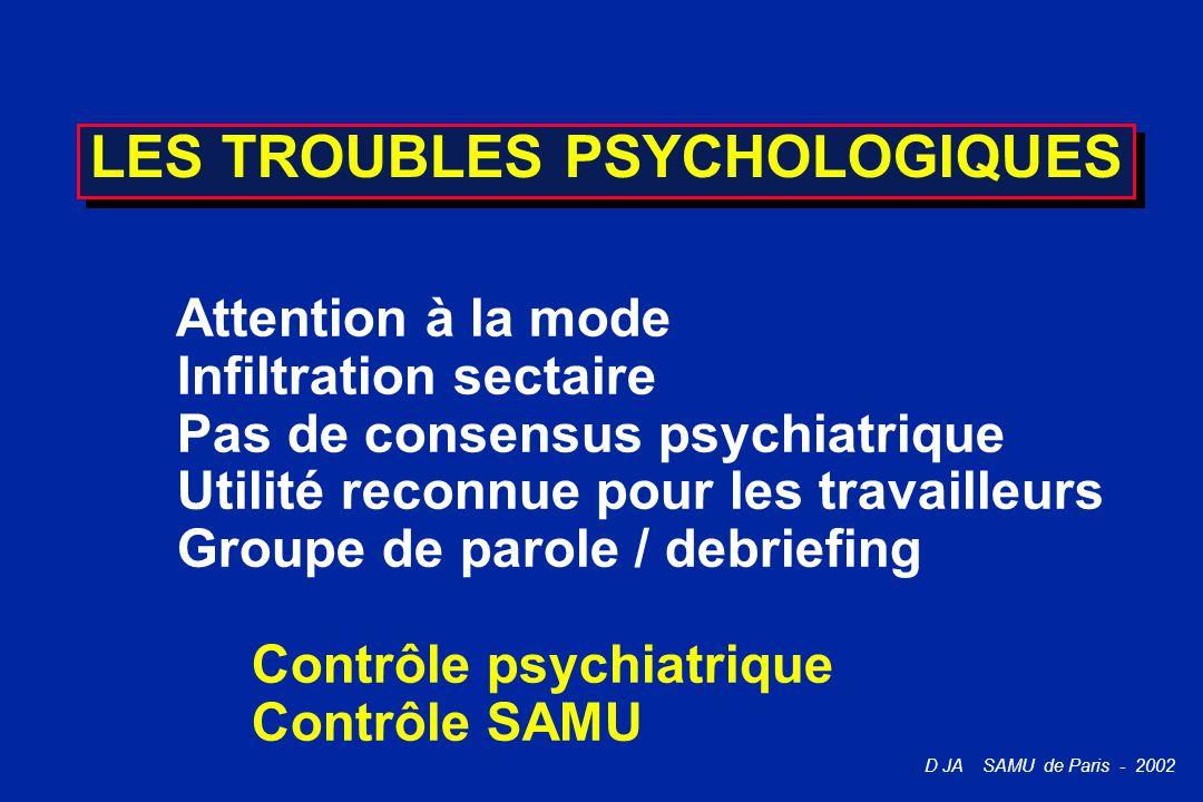 D JA SAMU de Paris - 2002 LES TROUBLES PSYCHOLOGIQUES Attention à la mode Infiltration sectaire Pas de consensus psychiatrique Utilité reconnue pour l