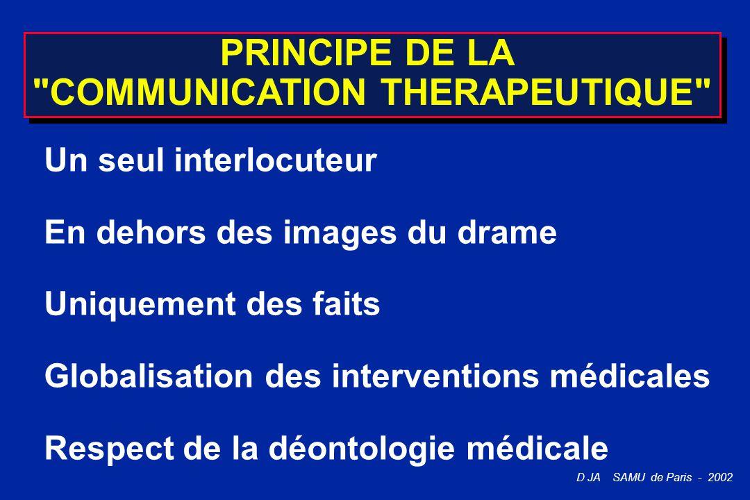 D JA SAMU de Paris - 2002 PRINCIPE DE LA