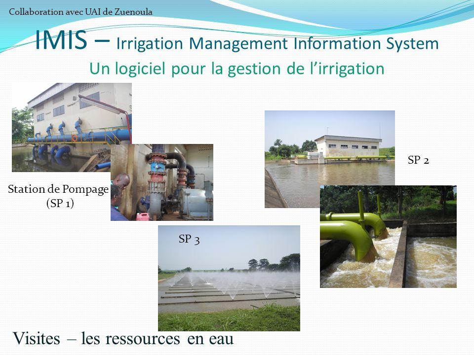 IMIS – Irrigation Management Information System Un logiciel pour la gestion de l'irrigation Visites – les ressources en eau Station de Pompage (SP 1)