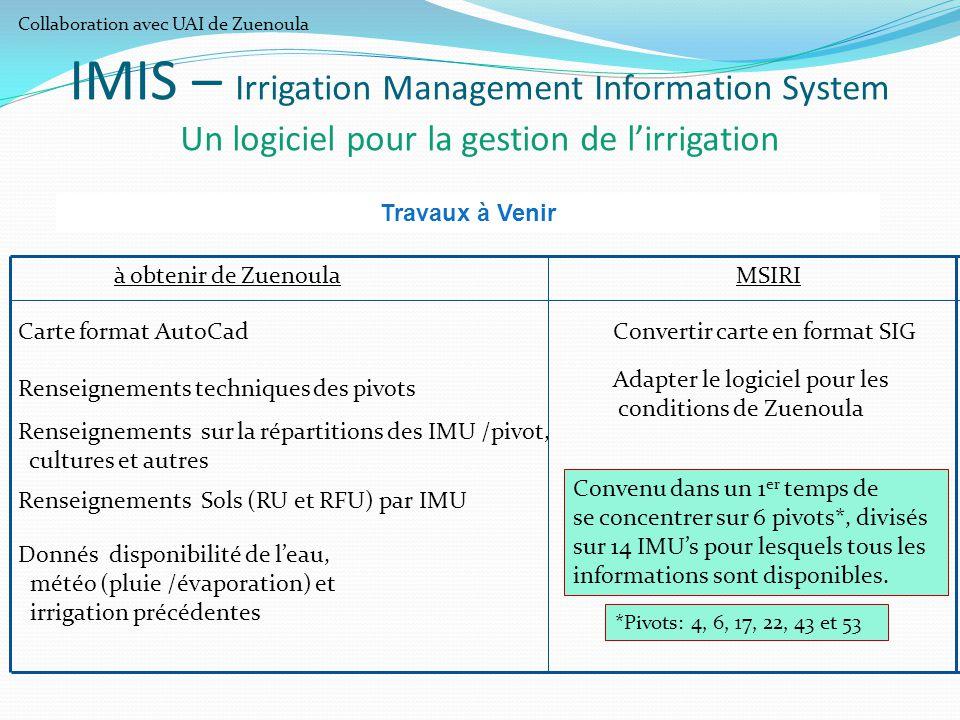 IMIS – Irrigation Management Information System Un logiciel pour la gestion de l'irrigation Travaux à Venir Carte format AutoCadConvertir carte en for