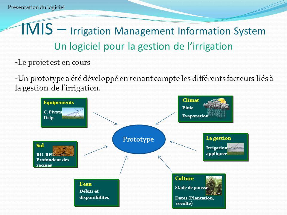 -Le projet est en cours -Un prototype a été développé en tenant compte les différents facteurs liés à la gestion de l'irrigation. IMIS – Irrigation Ma