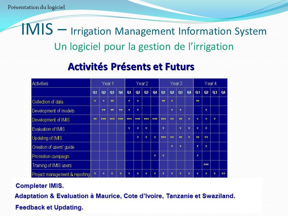 IMIS – Irrigation Management Information System Un logiciel pour la gestion de l'irrigation Activités Présents et Futurs Adaptation & Evaluation à Mau