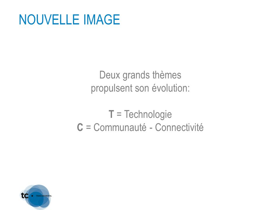 Deux grands thèmes propulsent son évolution: T = Technologie C = Communauté - Connectivité