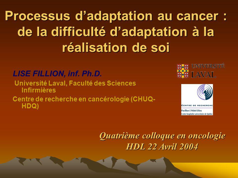 Processus d'adaptation au cancer : de la difficulté d'adaptation à la réalisation de soi LISE FILLION, inf.