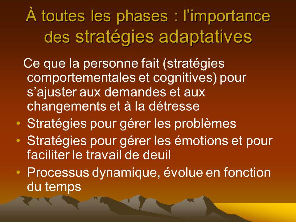 À toutes les phases : l'importance des stratégies adaptatives Ce que la personne fait (stratégies comportementales et cognitives) pour s'ajuster aux demandes et aux changements et à la détresse Stratégies pour gérer les problèmes Stratégies pour gérer les émotions et pour faciliter le travail de deuil Processus dynamique, évolue en fonction du temps