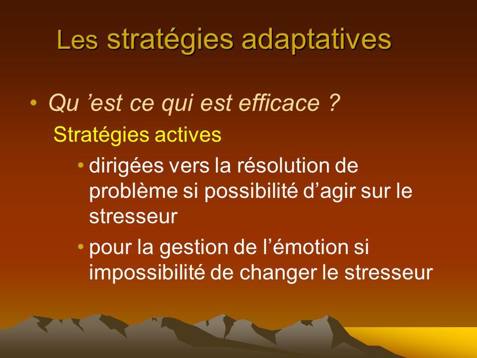 Les stratégies adaptatives Qu 'est ce qui est efficace .