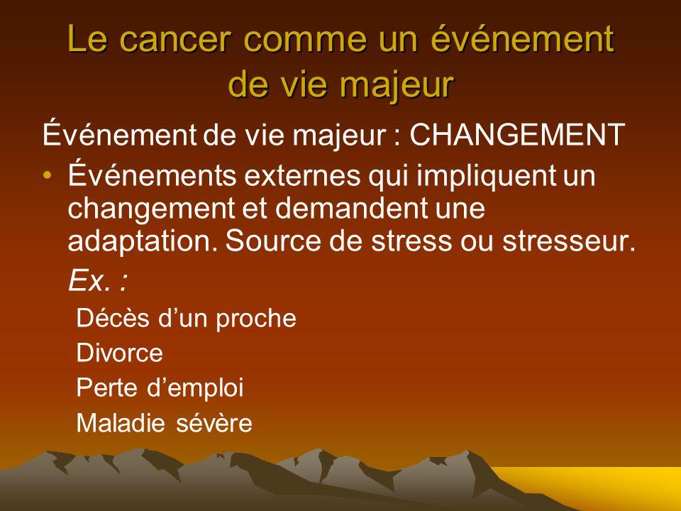 Le cancer comme un événement de vie majeur Événement de vie majeur : CHANGEMENT Événements externes qui impliquent un changement et demandent une adaptation.