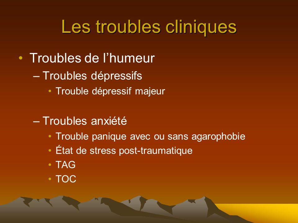 Les troubles cliniques Troubles de l'humeur –Troubles dépressifs Trouble dépressif majeur –Troubles anxiété Trouble panique avec ou sans agarophobie État de stress post-traumatique TAG TOC