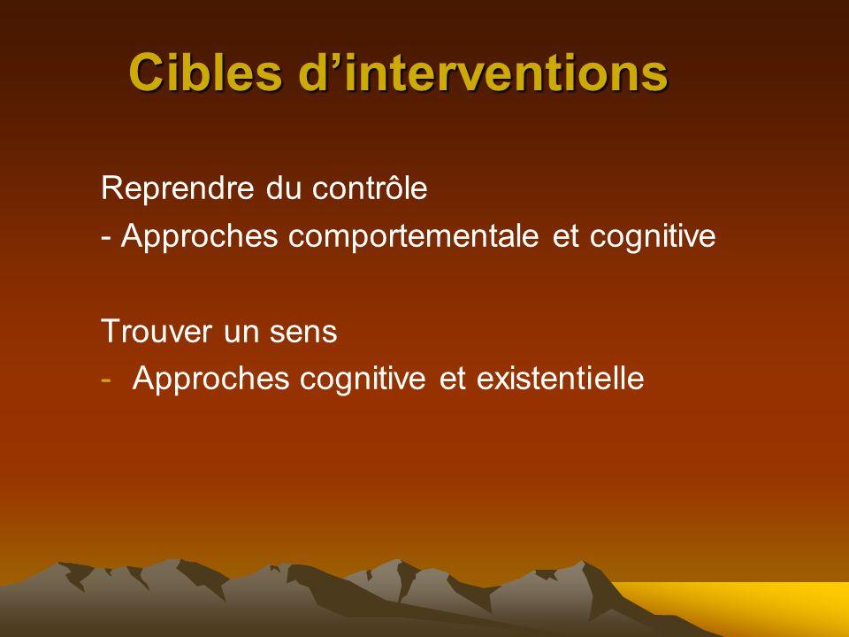 Cibles d'interventions Reprendre du contrôle - Approches comportementale et cognitive Trouver un sens -Approches cognitive et existentielle