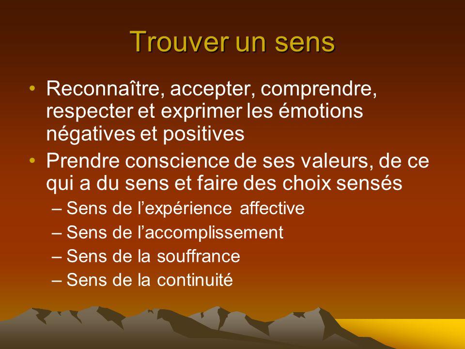 Trouver un sens Reconnaître, accepter, comprendre, respecter et exprimer les émotions négatives et positives Prendre conscience de ses valeurs, de ce qui a du sens et faire des choix sensés –Sens de l'expérience affective –Sens de l'accomplissement –Sens de la souffrance –Sens de la continuité