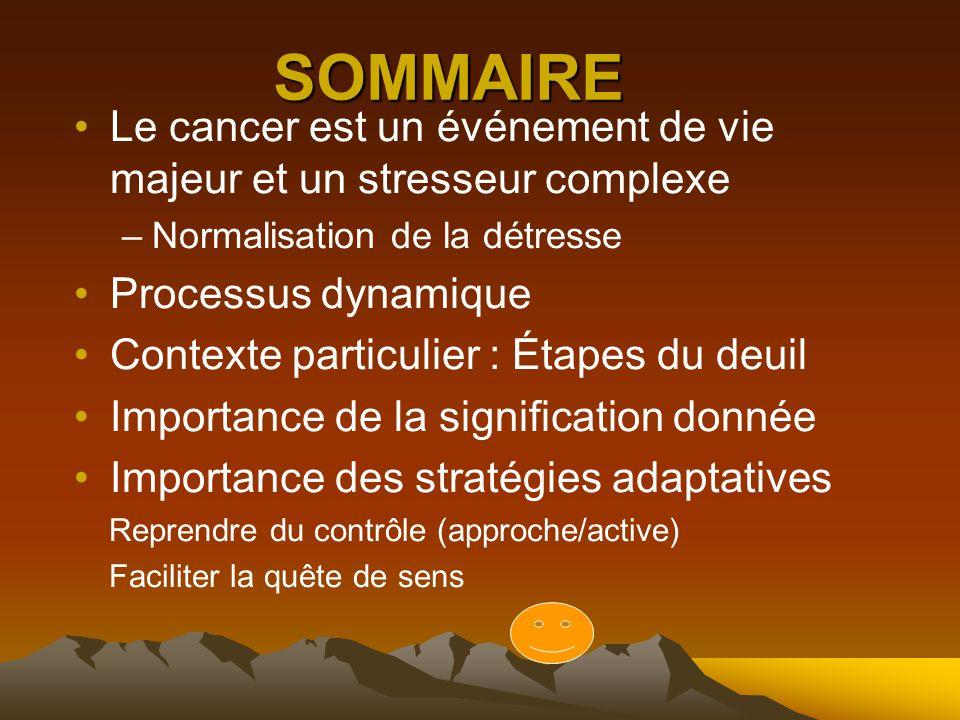 SOMMAIRE Le cancer est un événement de vie majeur et un stresseur complexe –Normalisation de la détresse Processus dynamique Contexte particulier : Étapes du deuil Importance de la signification donnée Importance des stratégies adaptatives Reprendre du contrôle (approche/active) Faciliter la quête de sens