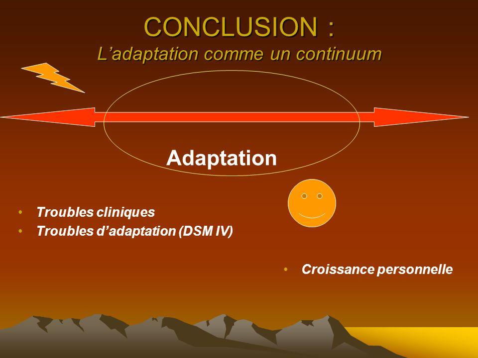 CONCLUSION : L'adaptation comme un continuum Adaptation Troubles cliniques Troubles d'adaptation (DSM IV) Croissance personnelle