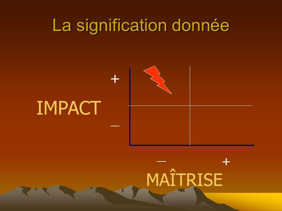 La signification donnée IMPACT MAÎTRISE + __ +